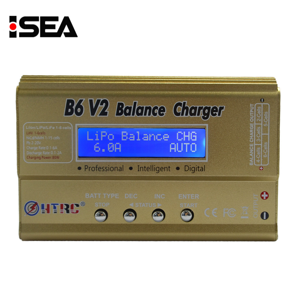 HTRC B6 V2 80W Professional Digital Battery Balance Charger Discharger for LiHV LiPo LiIon LiFe NiCd