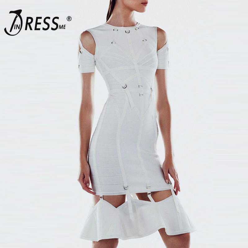 INDRESSME <font><b>Women</b></font> Bandage Dresss <font><b>2018</b></font> <font><b>Sexy</b></font> White Hollow Out Rivet Short Sleeve Bodycon Party <font><b>Dresses</b></font> Lady image