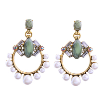 Wholesale Big Earrings New Design Synthetic Stone Simulated Pearls Bohemian Earrings Women Ethnic Jewelry