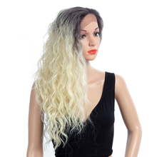 Aigemei Curly Synthetic Fiber Lace Front Wig For Women 22 Inch 185g Heat Resistant Wigs brazilian losse curly synthetic wigs glueless synthetic lace front wig for black women heat resistant lace front wig
