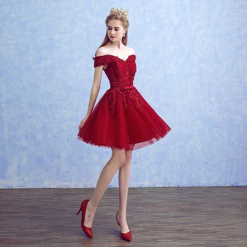 Robe de soiree vinho barco vermelho pescoço miçangas apliques rendas elegantes vestidos de noite com arco banquete formal festa baile de formatura vestido
