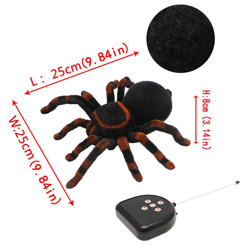 2018 New Remote Control Soft Scary Plush Creepy Spider Infrared RC Tarantula Baby Kids Child Toy Gifts