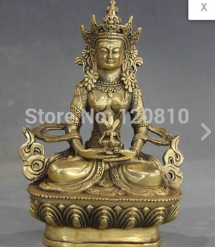 JJJ000China Buddhism temple Fane brass Amitayus Longevity Bodhisattva Kwan-Yin buddha