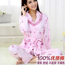 Sleepwear female spring and autumn 100% cotton sleep set long-sleeve twinset summer thin plus size female lounge