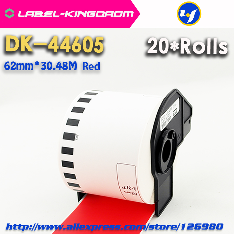 20 Rolls Generic Brother DK-44605 Label 62mm*30.48M Red Color Compatible for Brother QL-570/700 All Includ With Plastic Holder