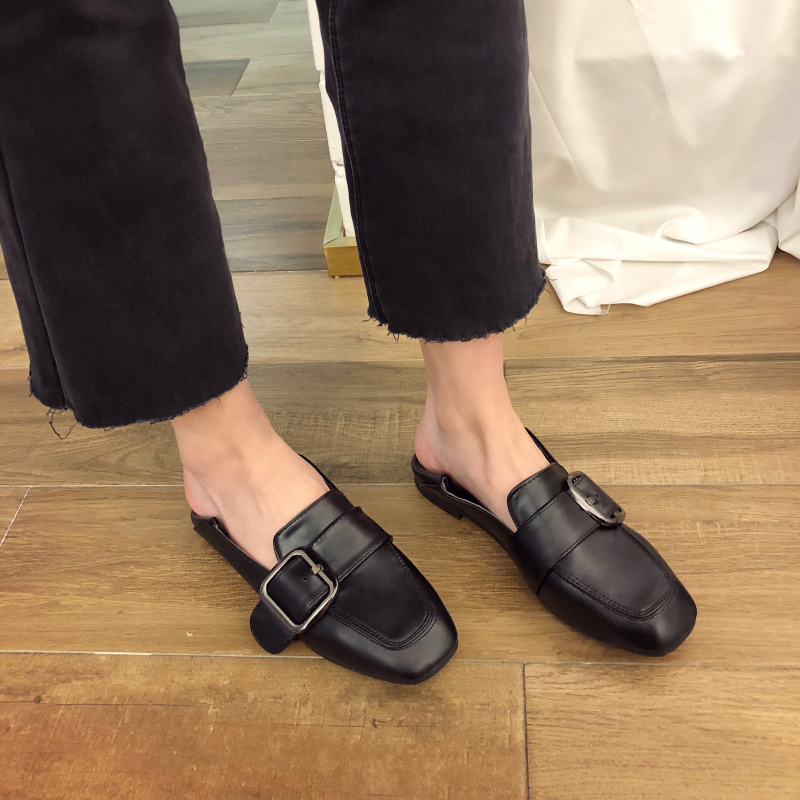 Casual Tête Cuir Plates Banlieue marron Femmes Simples Noir Belle La Coréenne Pois Été En Carrée Version De Nouvelle Chaussures Sauvages aTZxwnw7z
