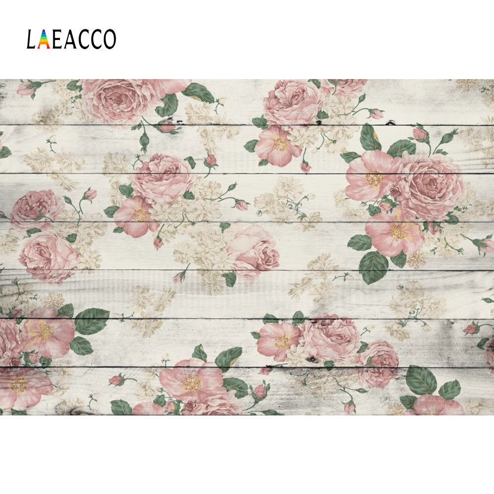 Laeacco Flowers Wooden Board Planks Children Birthday Photography - Camera en foto