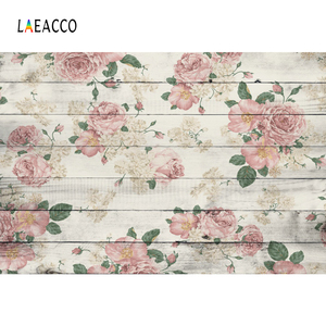 Image 2 - Laeacco Wooden Board Flowers Photography Backdrops Children Portrait Newborn Backgrounds Baby Shower Photocall For Photo Studio