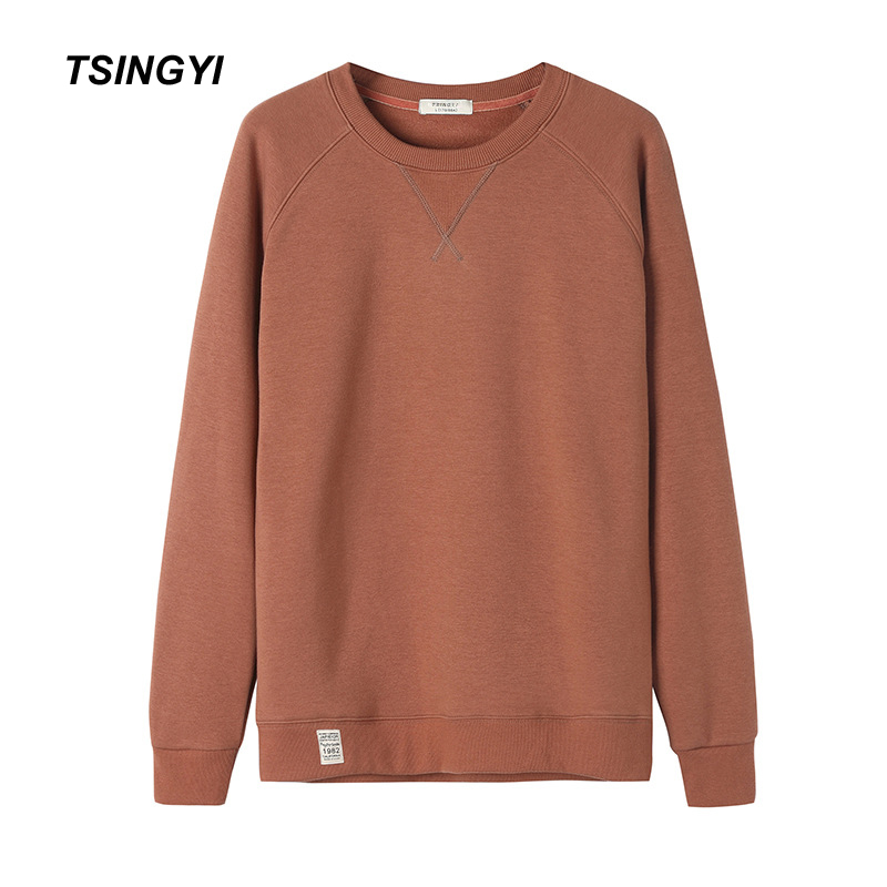 Tsingyi Fleece Pullover Solid Men's Hoodies Warm Wide-waisted O-neck Full Sleeve Streetwear Sweat Homme Men Hoodie Sweatshirt