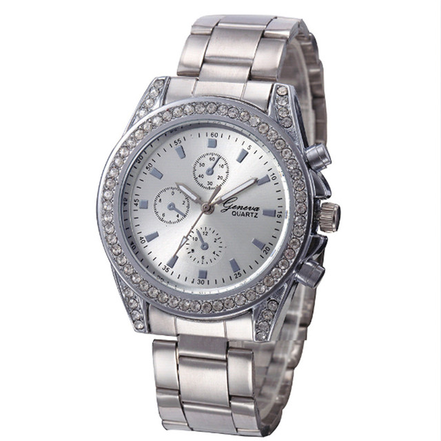 Hot Sale Woman's Silver Gold Stainless Steel Luxury Quartz-watch Ladies Crystal