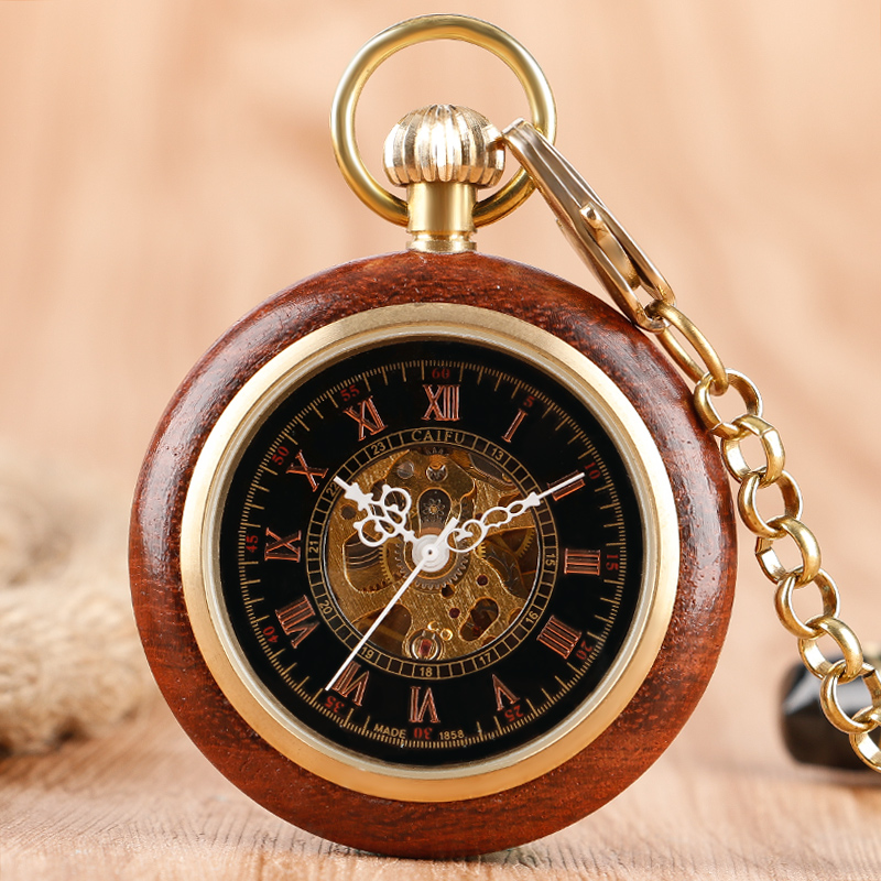 Unique Mechanical Hand Winding Pocket Watch Open Face Wood Around Classic Vintage Men Skeleton Fob Watch with Pendant Chain Gift vintage watch necklace steampunk skeleton mechanical fob pocket watch clock pendant hand winding men women chain gift
