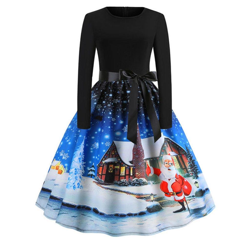 ... Women s Vintage Print Long Sleeve Christmas Evening Party Swing Dress  christmas dress women vetement femme 2018 ... c84799c4ae4e