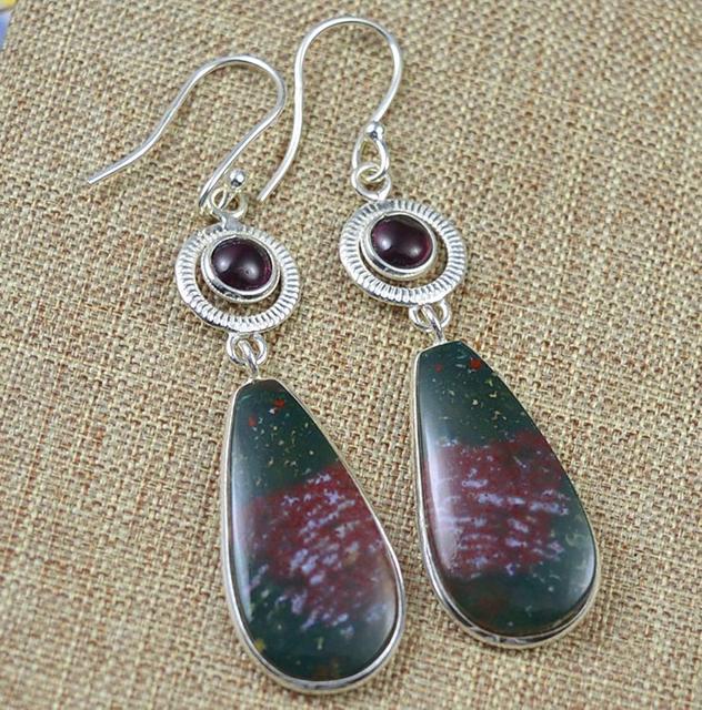 Genuine Bloodstone Pink Rubellite Earrings