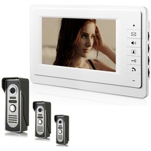 7 Inch Wired Video Door Entry System Home Security Camera Video Door Intercoms 3-camera 1-monitor Night Vision