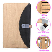 School Student Diary Planner Small Note Book Paper A6 Notepad Wood Grain Leather Hard Book Cover