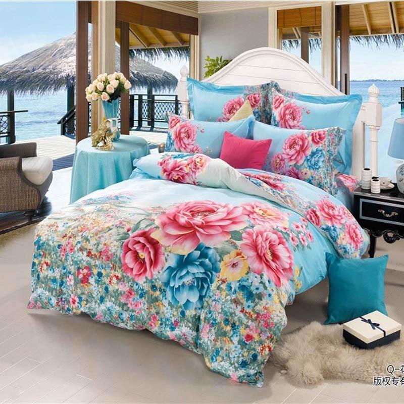 Bright Colored Flower 3D Rose Blue Bedding Set 4pcs Queen ...