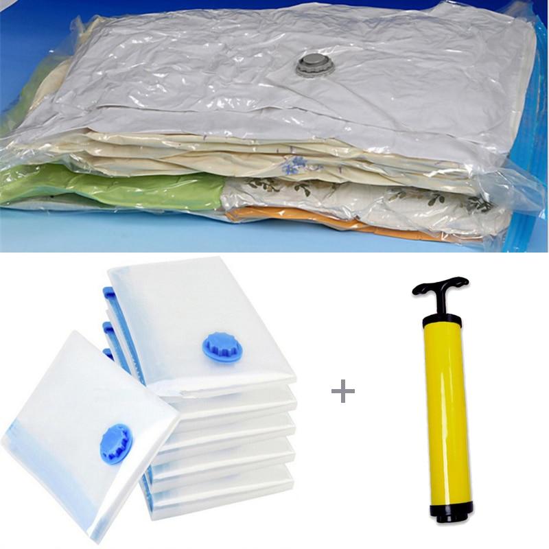 7 шт./компл. вакуумный мешок с ручным насосом, Домашний Органайзер, прозрачный органайзер для одежды, сжатое пространство для путешествий