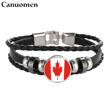 Canuomen Leather Bracelet Snap Punk Canada Honduras Hati Cuba Flag Glass Cabochon Charm Bracelets Women and Men Casual Jewelry(China)