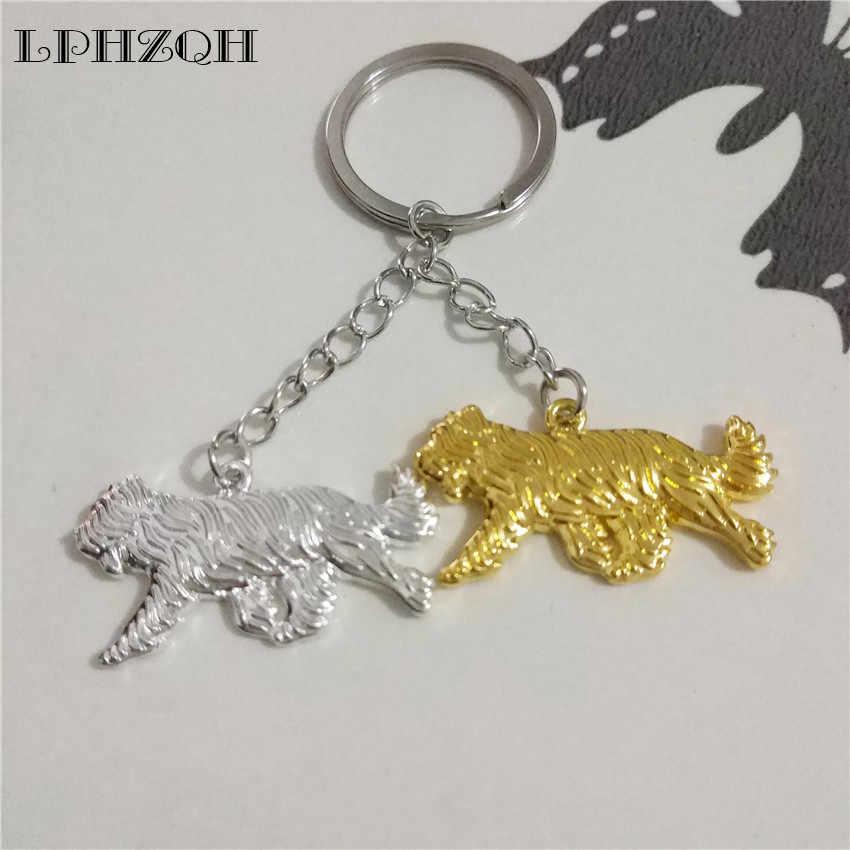 Lphzqh moda boho chique cão briard cadeia bonito chave do carro mulheres bolsa charme pingente acessórios jóias anel chave steampunk