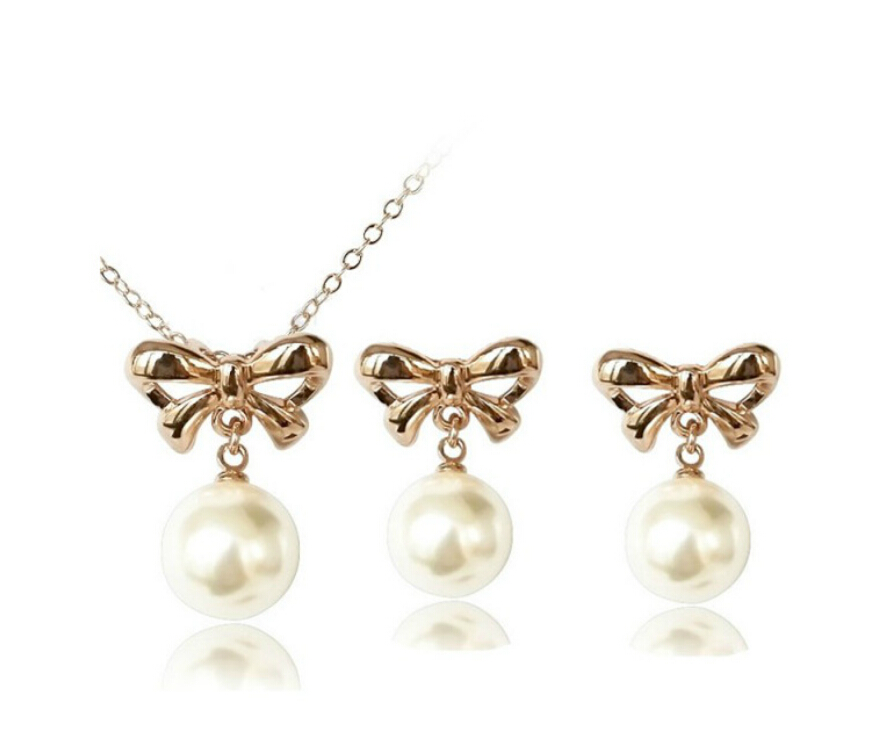 OMH wholesale fashion 18 KT gold white bowknot Women girls gift Necklace + Earrings Jewelry sets TZ134