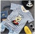 Ropa infantil de verano de rayas de cuello redondo de los niños t-shirt bebé elástico t-shirt edad 2-7 t