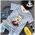 Summer  children's clothing children's round neck stripes T-shirt baby elastic T-shirt age from 2-7T