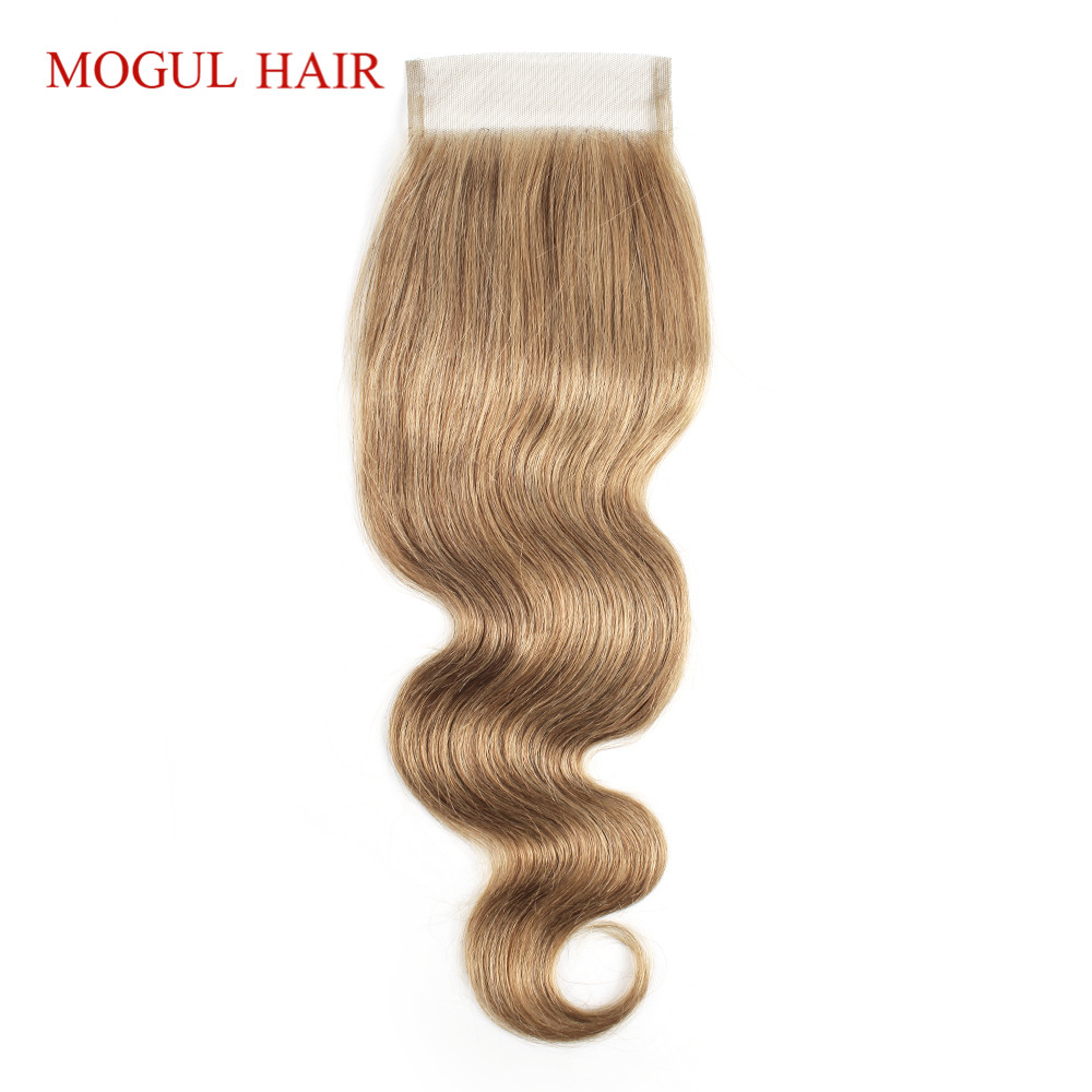 MOGUL HAIR Color 8 Ash  Blonde Body Wave Closure Hand Tied 4*4 Lace Closure Free Middle Part Indian Remy Human Hair