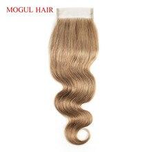 Могул цвет волос 8 пепельный блондин объемная волна руки связали закрытие 4*4 кружева закрытие бесплатный Ближний часть Индийский Реми человеческих волос