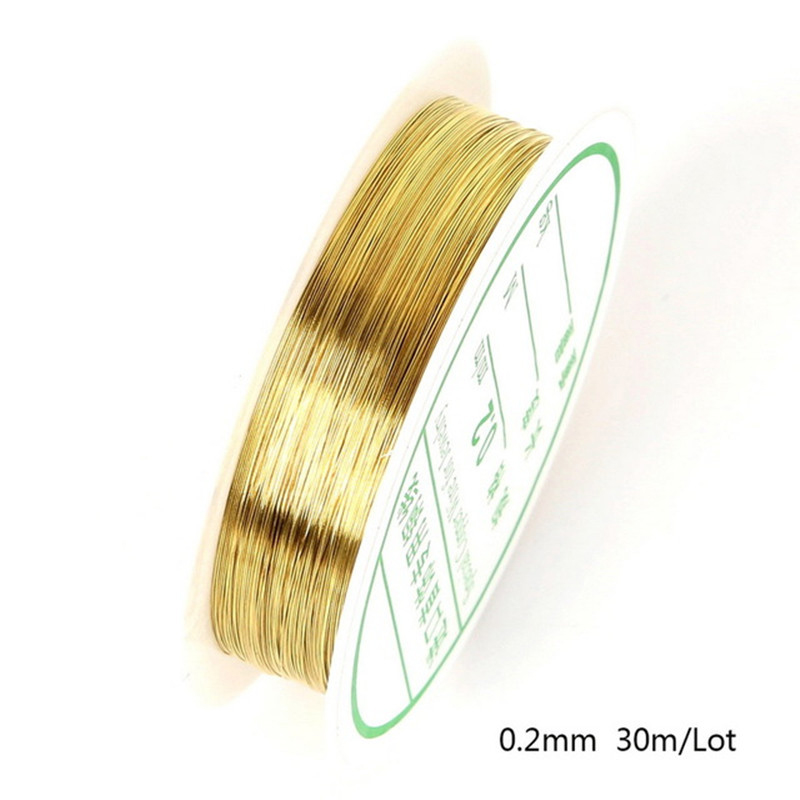 30/20/15/8/<font><b>7</b></font>/5/<font><b>3</b></font>/2m Golden Beads Rope Copper Wires Craft Beading Wire For Bracelet Necklace Cord String Jewelry Accessories image
