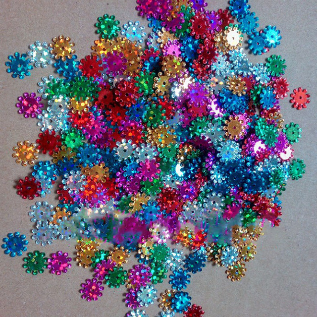 About 485pcs 9mm Sequins Laser Bright Color Sequin Diy Craft