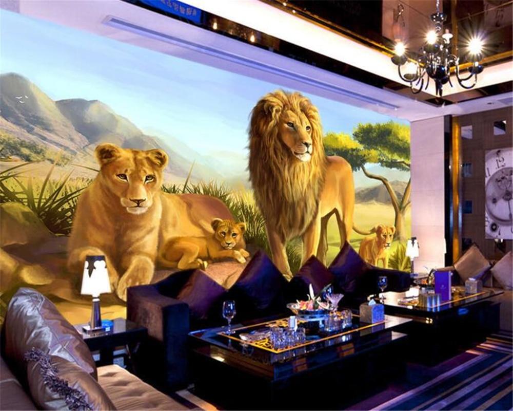 US $8 85 OFF Beibehang Kustom 3D Wallpaper Indah Singa Hewan Wallpaper Mural Sofa TV Wallpaper Foto Mural Wallpaper Untuk Dinding 3 D Mural