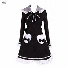 Английская Лолита сладкий стиль Ainclu женская черная с длинными рукавами Лолита пальто с капюшоном