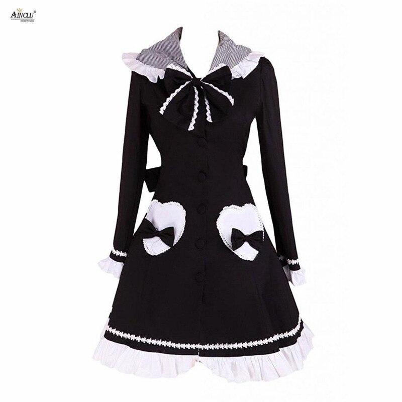 Angleterre lolita Style Doux Ainclu Femmes Noir Manches Longues Lolita Manteau Avec Capuche