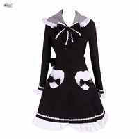 England lolita Sweet Style Ainclu Womens Black Long Sleeves Lolita Coat With Hood
