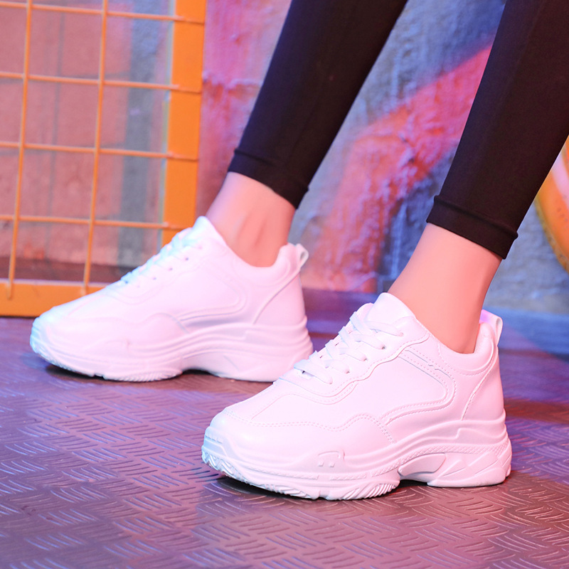 White Sneakers Women Vulcanize Shoes Platform Chunky Sneskers Ladies Trainer Casual Women Flats Sneakers Shoes Tenis Feminino