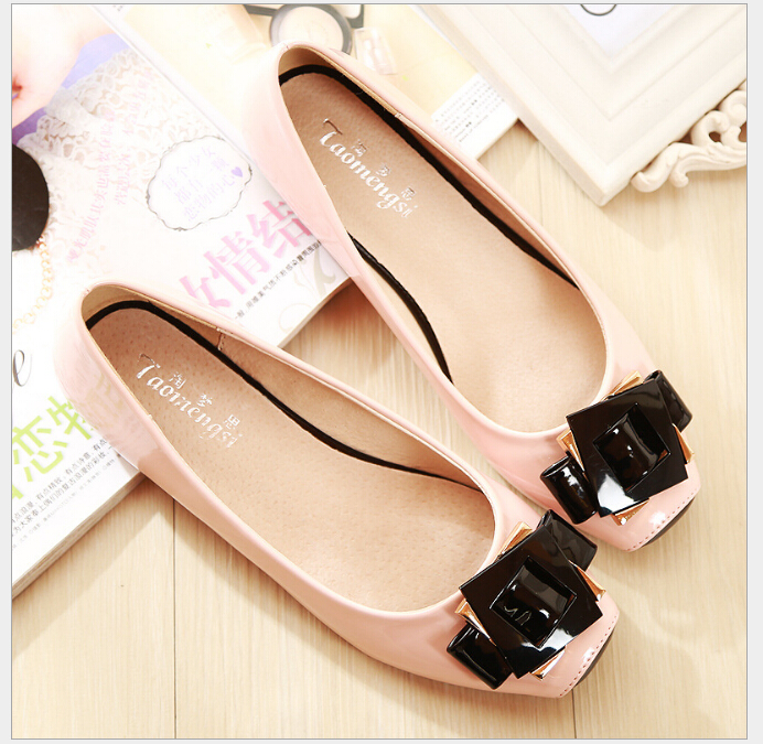 Spring and summer Fashion cute square toe women flats ballet flat shoes woman Plus Size (33-43) brilliant genuine sheepskin leather flat heel single shoes 2016 spring summer square toe rhinestones black rose red ballet flats