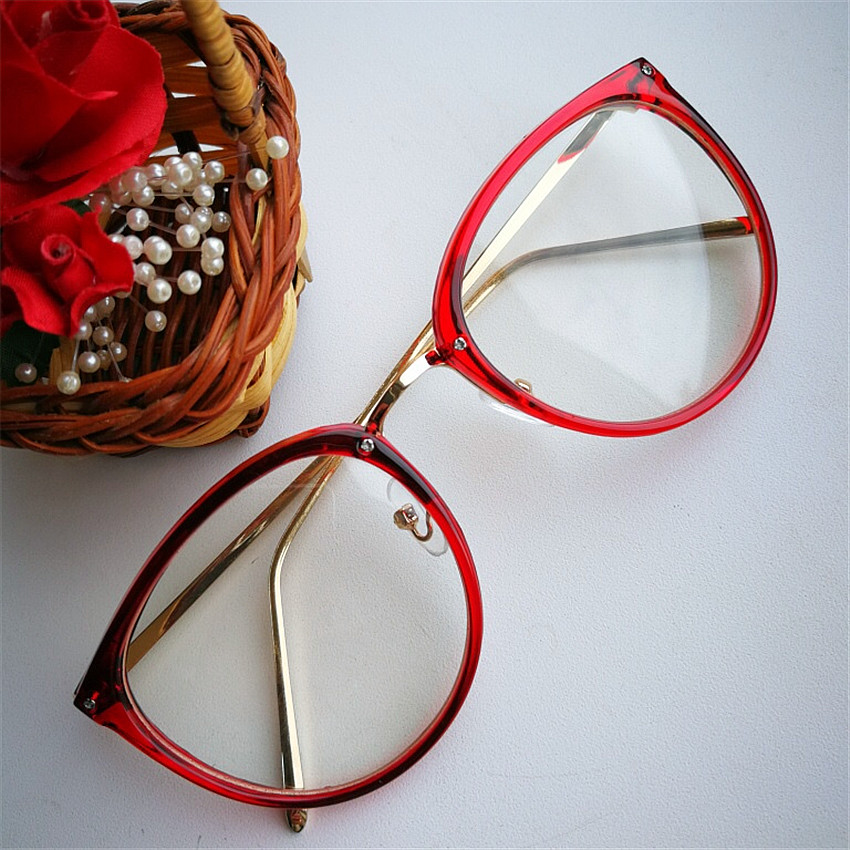 Imwete Optical Transparent Glasses Women Myopia Eyeglasses Frames Metal Spectacles Clear Lenses Women's Glasses