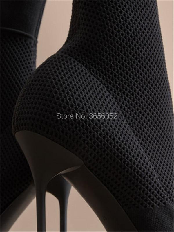 Black Tissu Chaussons Tricoté Pointu Sur Stiletto Chaussette Qianruiti Hauts Bottes Sexy Stretch Femme Chaussures Slip Noir Cheville Talons Bout Femmes ROfnH05qx