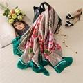 180*90 См Горошек Цветочные Цепи Настоящее Шелковый Платок Шарф 2017 Весна Luxury Brand Мода Цифровой Печати Écharpe Платки Femme Хиджаб Cap