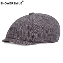 SHOWERSMILE Newsboy Caps Man Cotton Vintage Herringbone Driver Cap Spring Gray Tweed Striped British Style Octagonal Beret Hat
