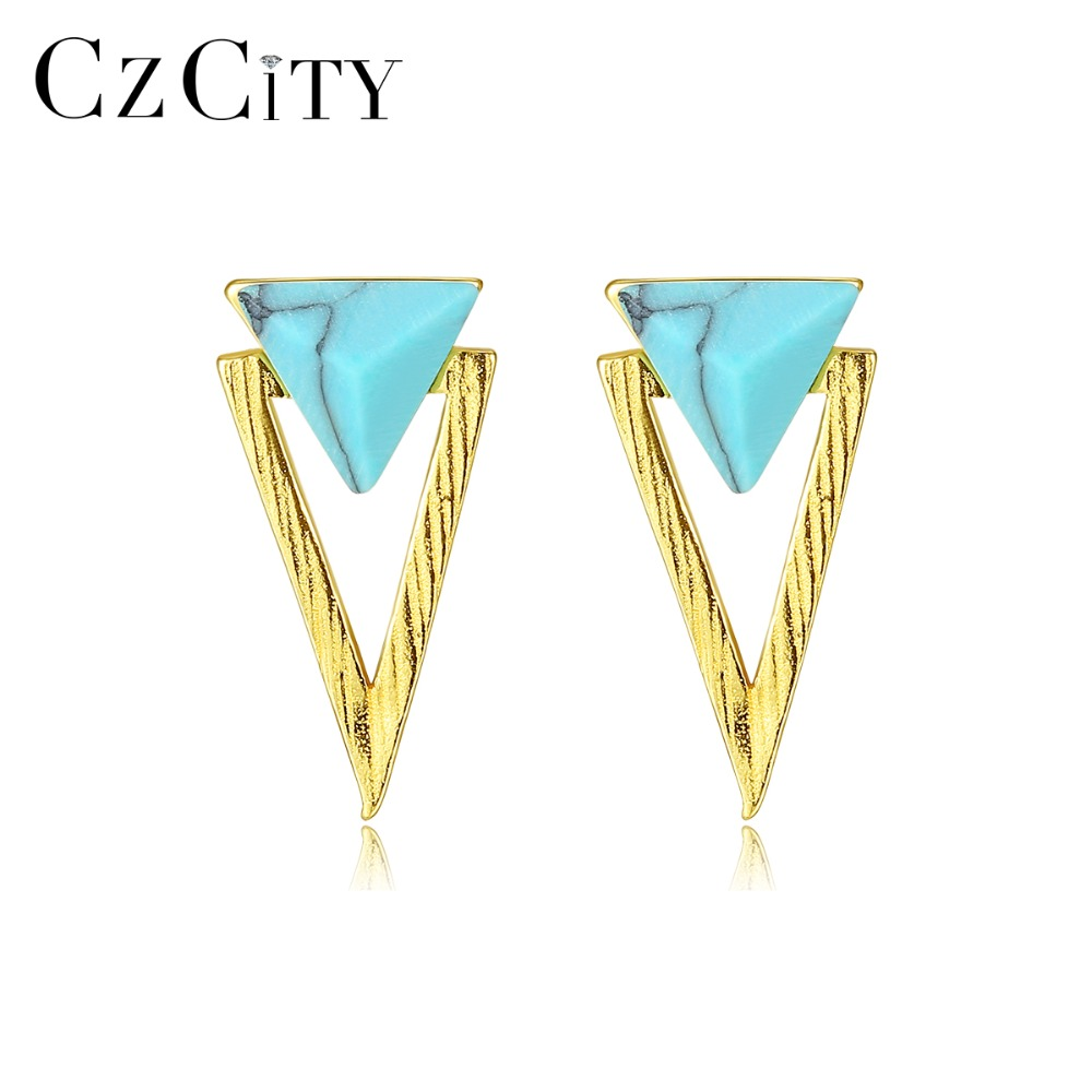 CZCITY New 925 Sterling Silver Double Triangle Design Turquoise Stud Earrings For Women Gemstone Brushed Earrings Fine Jewelry