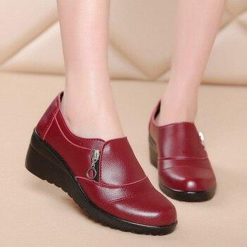 97eb9a39d Женская обувь на низкой танкетке на молнии; женские ботильоны; новые осенние  туфли из мягкой искусственной кожи на платформе; большие разме.
