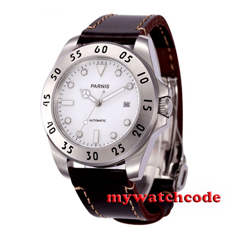 43mm Parnis white dial Sapphire Glass 21 jewels miyota Automatic mens Watch P602 new fuel injector 04178023 for 1011 2011 engine 0432191624 free shipping