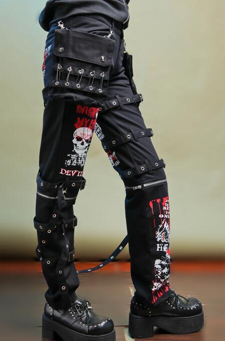 De Recta Gas No Personalidad Impresión Cráneo Hombres Pantalones Trajes Cantante Convencionales Gótico 2017 Garabato Punky Agujero Black AwC1nq40