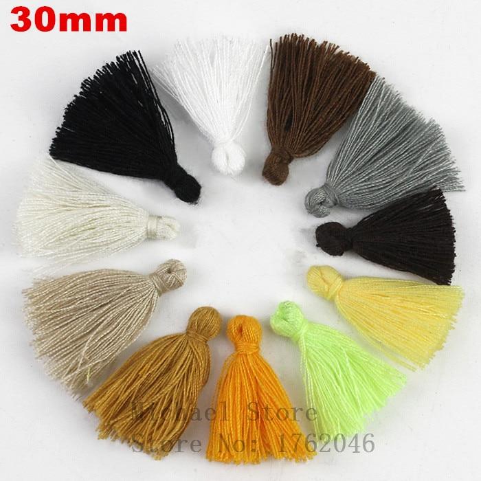 50pcs Mixed Cotton Tassels Earrings Silk Charm Pendant Satin Tassels Jewelry