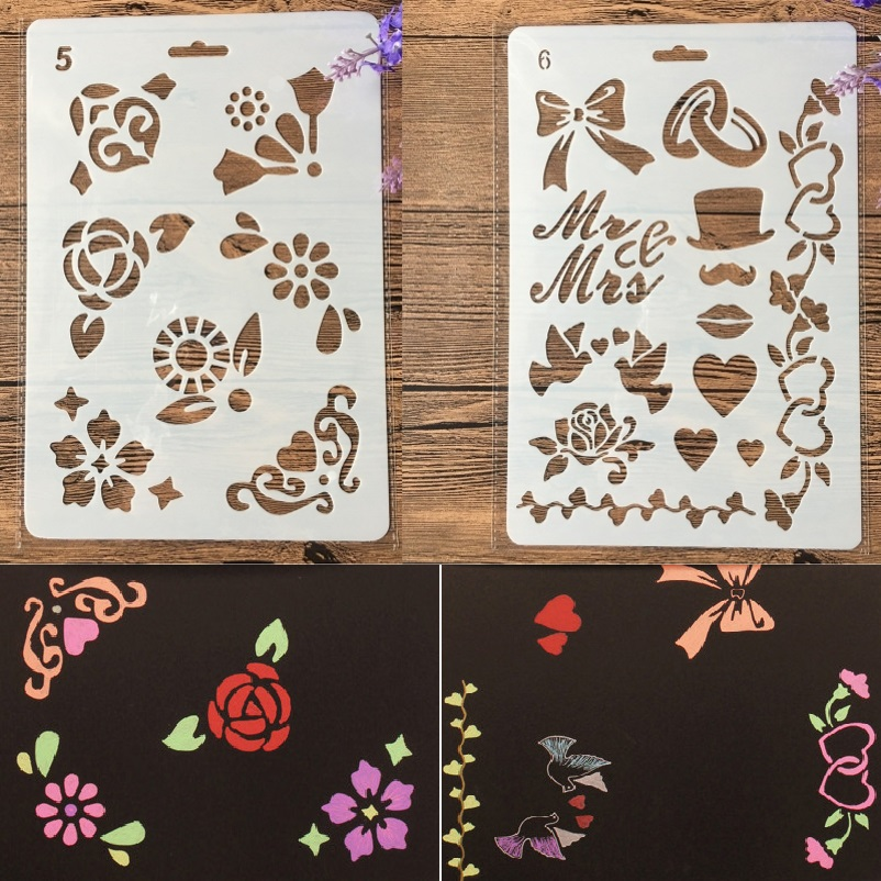 2Pcs/Lot 27cm Bowknot Small Flower DIY Craft Layering Stencils Painting Scrapbooking Stamping Embossing Album Paper Template