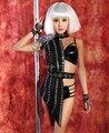 Женское бар Dj певица ds стержень танцор костюм сексуальный черный половина - длина стекло горный хрусталь юбка танец полька одежда