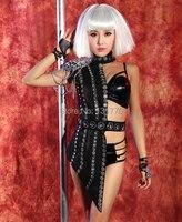 2015 female new bar Dj singer ds lead dancer costume sexy black half length glass rhinestone skirt pole dancing clothes