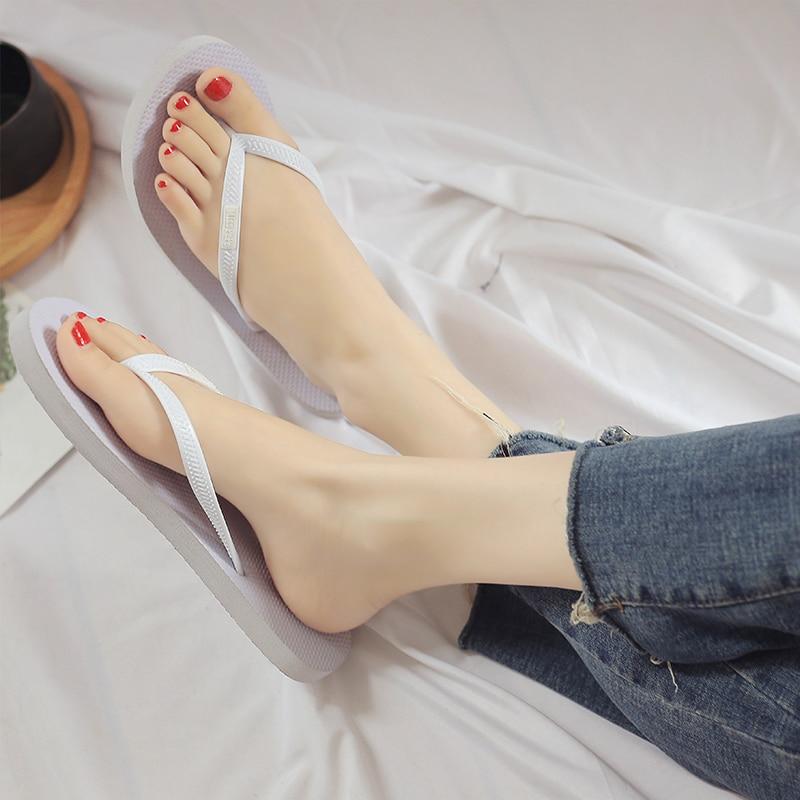 Plardin Slippers Flip-Flops Sandals Women Black White Summer Flat Slides Round-Toe