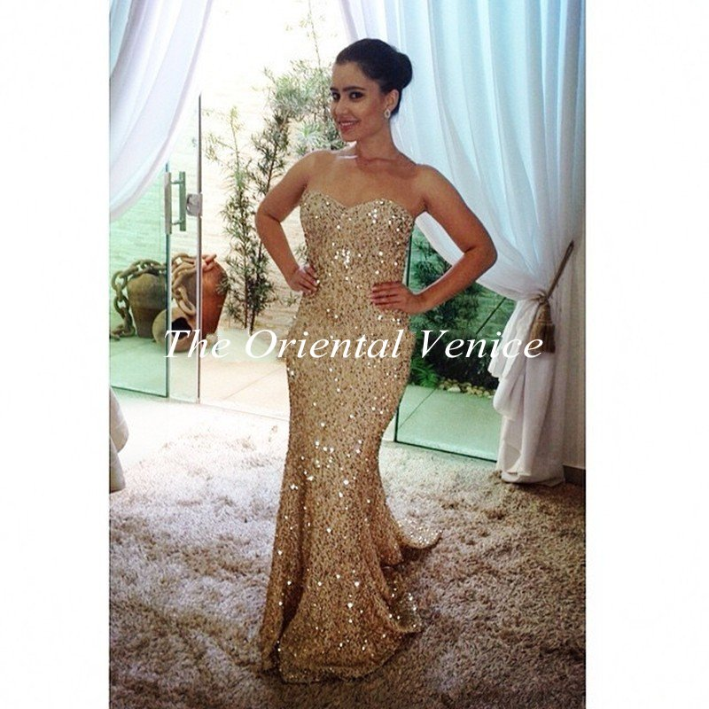Popular Mermaid Sequin Gold Prom Dress-Buy Cheap Mermaid Sequin ...